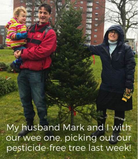 My husband and I picking out our pesticide-free tree last week!