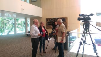Charles Richmond speaking with the press at Edmonton City Hall