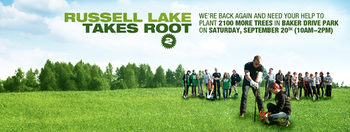 Russell Lake Takes Root 2 event poster